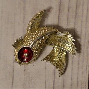 vintage gold fish brooch pin red eye
